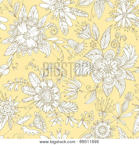 Yellow seamless flower pattern