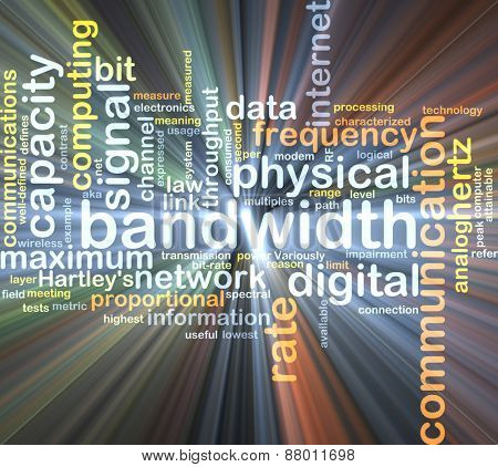 Background text pattern concept wordcloud illustration of communication bandwidth glowing light