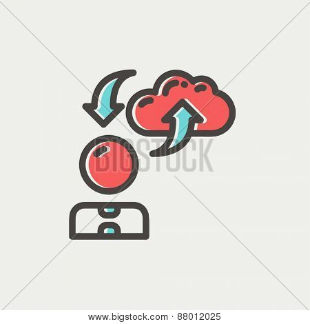 Man with cloud upload and download arrows icon thin line for web and mobile, modern minimalistic flat design. Vector icon with dark grey outline and offset colour on light grey background.