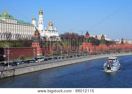 Pleasure Boat On Moskva River