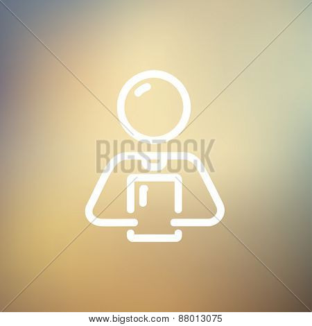 Man holding touch screen tablet icon thin line for web and mobile, modern minimalistic flat design. Vector white icon on gradient mesh background.