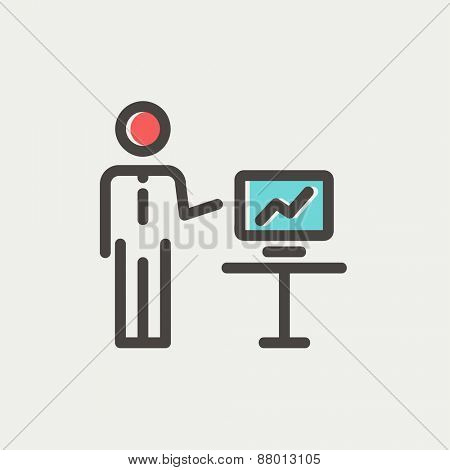 Businessman presentation icon thin line for web and mobile, modern minimalistic flat design. Vector icon with dark grey outline and offset colour on light grey background.