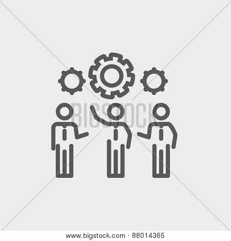 Businessmen holding a gear of a machine icon thin line for web and mobile, modern minimalistic flat design. Vector dark grey icon on light grey background.