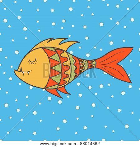 Doodle Fish. Hand Drawn Vector Illustration