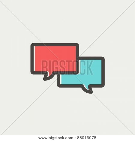 Two speech bubbles icon icon thin line for web and mobile, modern minimalistic flat design. Vector icon with dark grey outline and offset colour on light grey background.