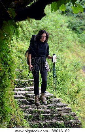 Trekking Girl In The Annapurna Circuit, Nepal