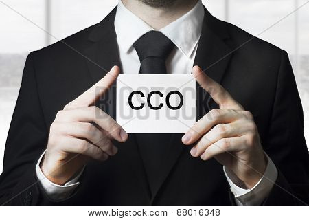 businessman holding white sign cco