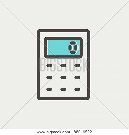 Calculator icon icon thin line for web and mobile, modern minimalistic flat design. Vector icon with dark grey outline and offset colour on light grey background.