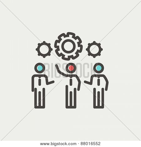 Businessmen holding a gear of a machine icon thin line for web and mobile, modern minimalistic flat design. Vector icon with dark grey outline and offset colour on light grey background.