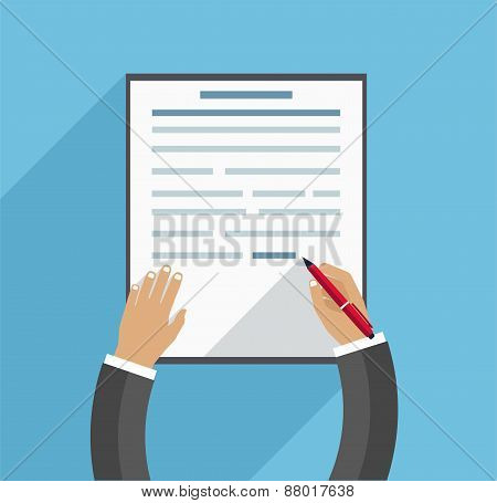 Hand Fills Contract, Business Concept On Blue Background In A Flat Style