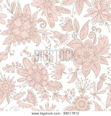 Pale pink seamless flower pattern