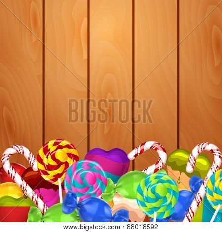 Bright background with candies on wood