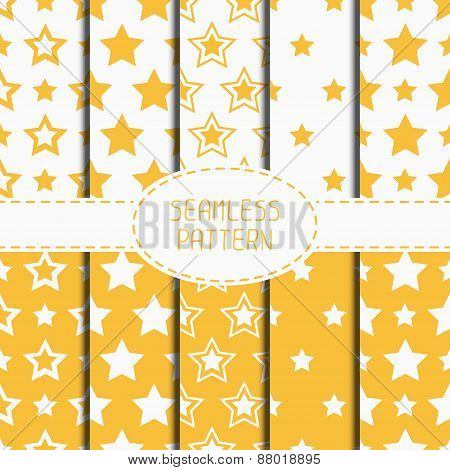 Set of yellow geometric seamless pattern with stars. Collection of wrapping paper. Paper for scrapbo