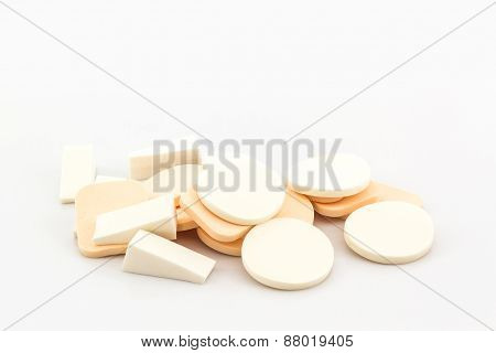 Cosmetic Sponges On White Background.