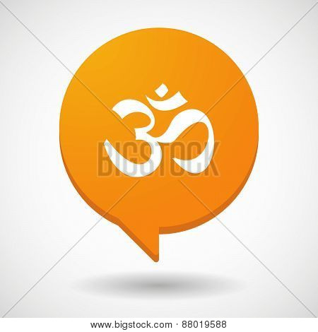 Comic Balloon Icon With An Om Sign