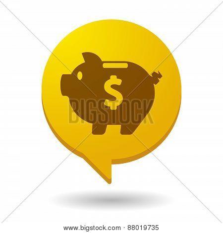 Comic Balloon Icon With A Piggy Bank