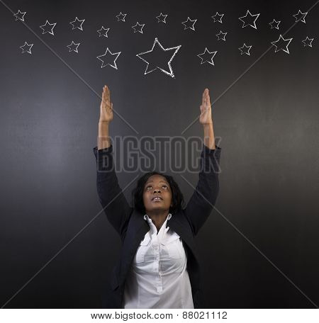 South African Or African American Woman Teacher Or Student Reaching For The Stars Success