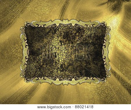 Element For Design. Template For Design. Golden Background With Dark Plate With Cracks
