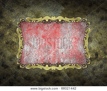 Element For Design. Template For Design. Grunge Frame With Gold Pattern And Grunge Pink Background