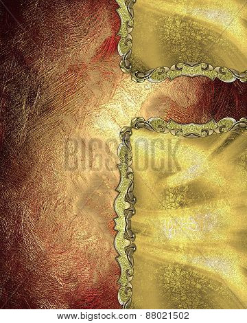 Element For Design. Template For Design. Shabby Red Golden Background With Gold Inserts