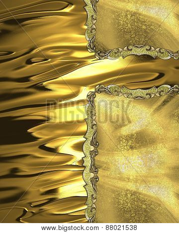 Element For Design. Template For Design. Yellow Golden Background With Gold Inserts