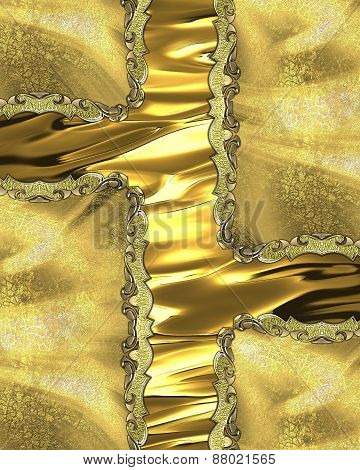 Element For Design. Template For Design. Golden Background With Gold Inserts