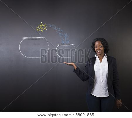 South African Or African American Woman Teacher Or Student With Jumping Fish Small To Big Bowl