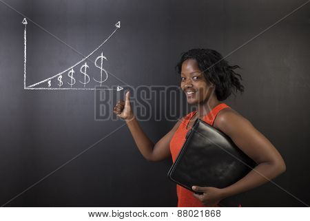 South African Or African American Woman Teacher Or Student Against Blackboard Chalk Money Graph