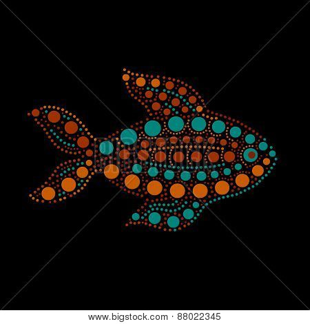 Colorful dotted fish silhouette on black australian aboriginal art style, vector illustration