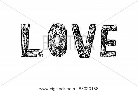 Handmade Love Word Vector