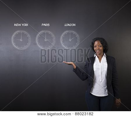 South African Or African American Woman Teacher Or Student With New York Paris And London Chalk Time