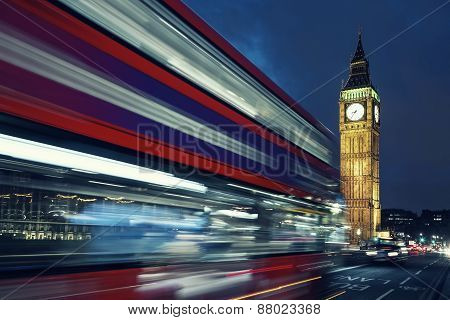 Big Ben And Bus By Night