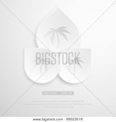 Palm Tree sign icon. Travel trip symbol. Gray flat button with shadow. Modern UI website navigation.