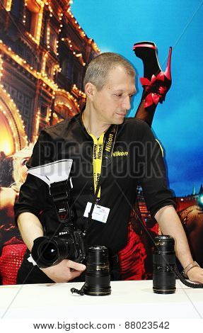 Exhibition Equipment For Photography In Moscow April 12, 2015.
