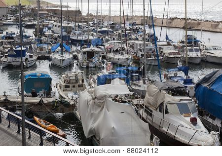 Yachts Motorboats And Fishing Vessels In Old Jaffo Port. Tel Aviv, Israel.