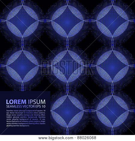 seamless blue glowing ethnic pattern.