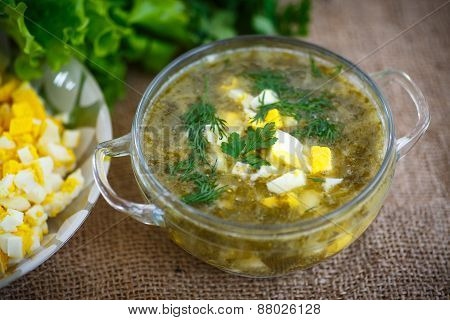 Green Soup With Eggs And Sorrel