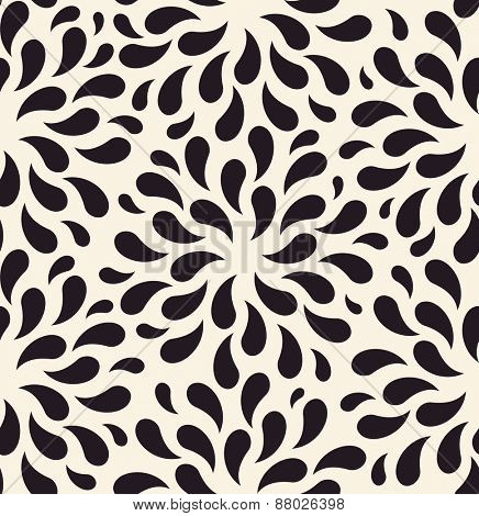 Raster seamless pattern. Floral vintage backgrounds drops on foliage plants