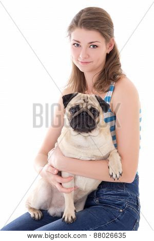 Young Woman With Pug Dog Isolated On White