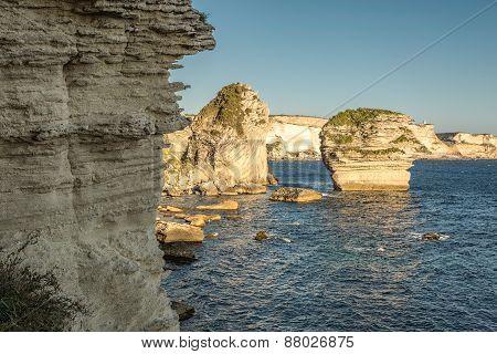 White Cliffs, Stacks And Mediterranean At Bonifacio In Corsica