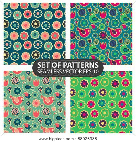 set of 4 vector seamless patterns