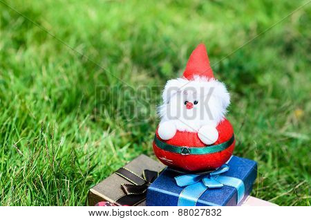 Santa Doll With Christmas Decoration On Green Grass Outdoor.