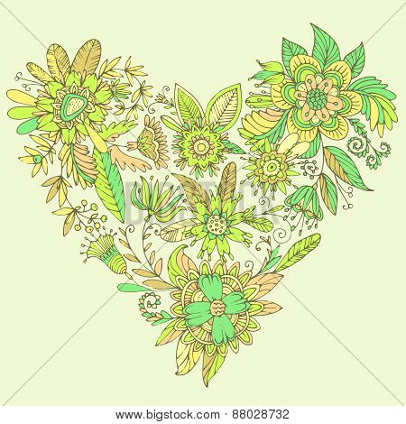 Gorgeous vector heart consisting of flowers