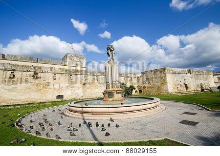 Fountain Of The Lovers Or Fontana Degli Innamorati In Lecce, Puglia, Italy