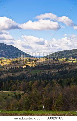 Radocelo mountain landscape at autumn sunny day