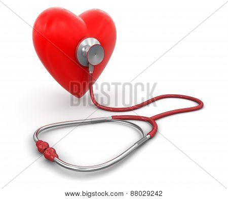 stethoscope and heart (clipping path included)