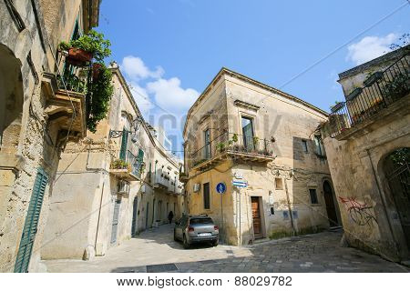 Houses In The Typical Yellow Lecce Stone In The Old Center Of Lecce, Puglia, Italy