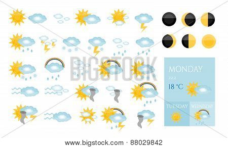 Set, collection, group, pack of modern, isolated, weather icons -  sun, cloud, raining, snowing, tor