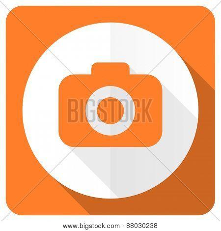 photo camera orange flat icon photography sign