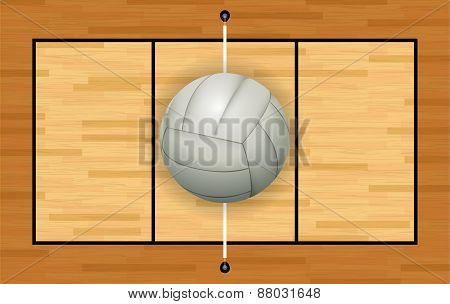 White Volleyball On Hardwood Court Illustration